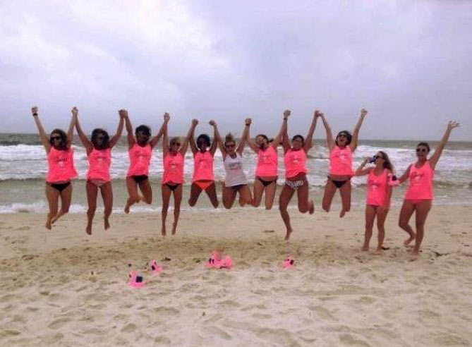 33 Funny Pics and Memes of the Day ~ group of women jumping together on beach one drinking just can't even fail