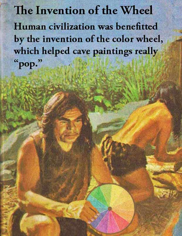 Funny book cover, primitive man invention of color wheel, ~ 33 Funny Pics and Memes best