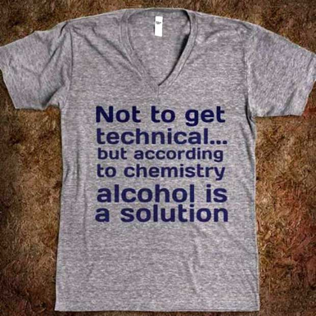 Funny T-shirt ~ alcohol is a solution ~ Adult Humor ~ 31 Funny Memes and Pics ~