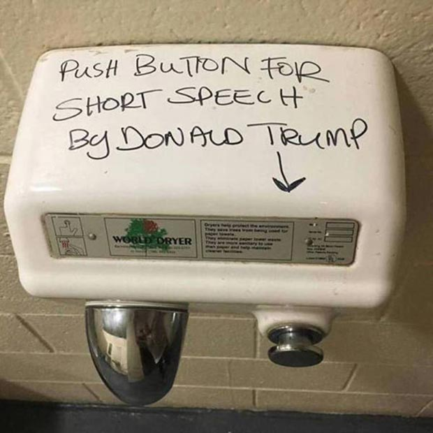 35 Funny Pics and Memes Ya Gotta See ~ Donald trump bathroom air dryer speech