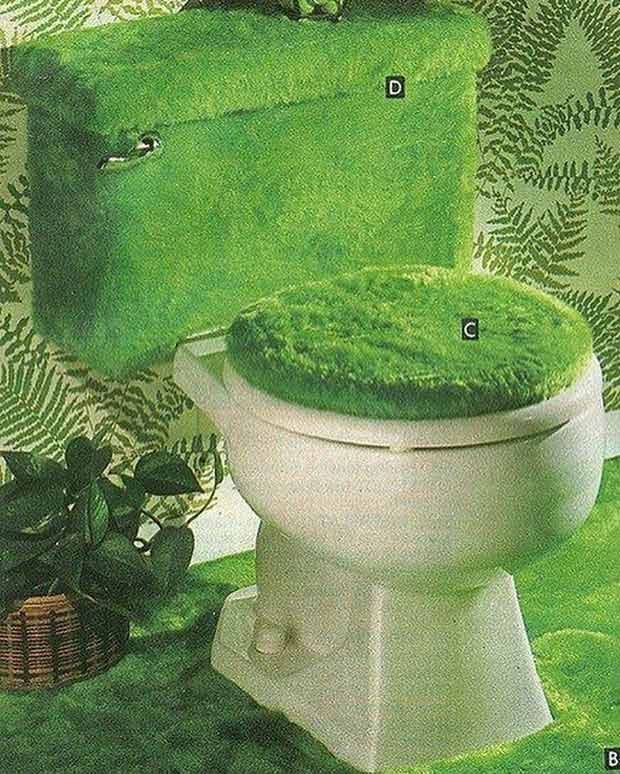 35 Funny Pics and Memes Ya Gotta See ~vintage ad avocado green toilet seat cover carpet