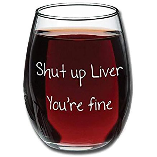 20 Funny Christmas Gifts for under $20 – Stemless Wine Glass Shut Up Liver You're Fine