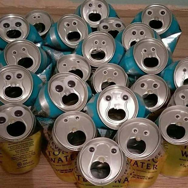 35 Funny Memes and Pics of Humor Galore ~ crushed cans with googly eye faces