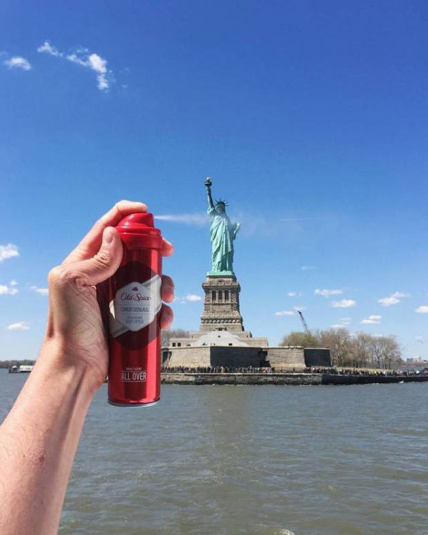 35 Funny Memes and Pics of Humor Galore ~ Old Spice deodorant spraying Statue of Liberty underarm