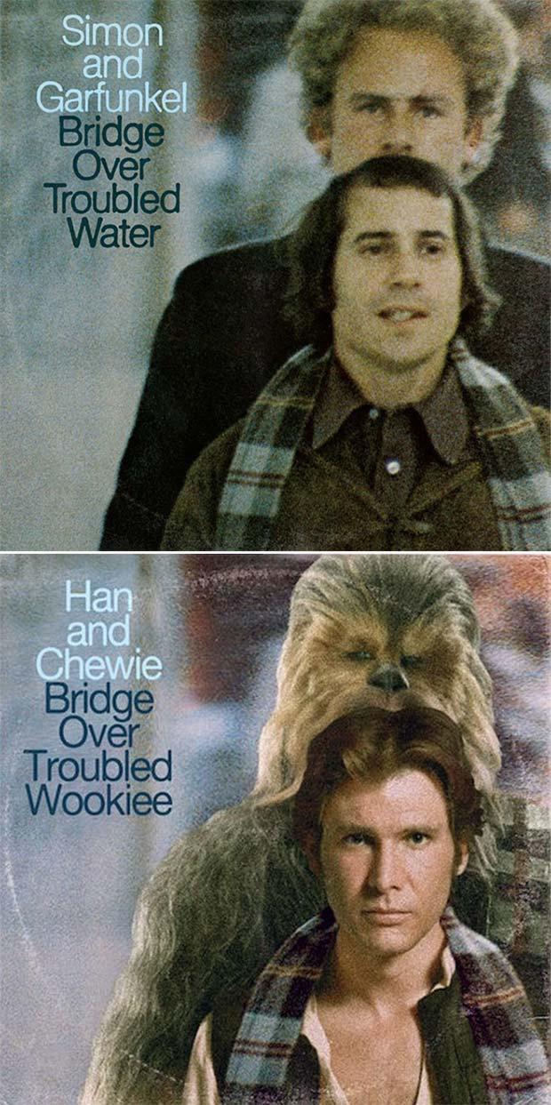 28 Star Wars ~ Classic Album Covers Mash-ups That ROCK! ~ Han and Chewie Simon and Garfunkel