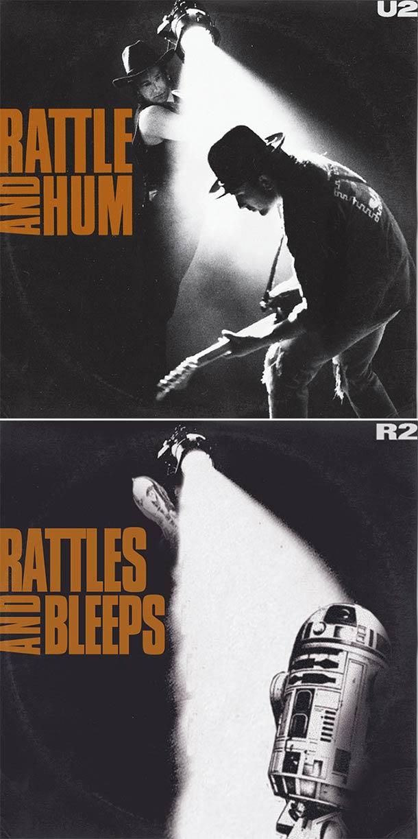 28 Star Wars ~ Classic Album Covers Mash-ups That ROCK! ~ U2 Rattle and Hum and Bleeps R@DA