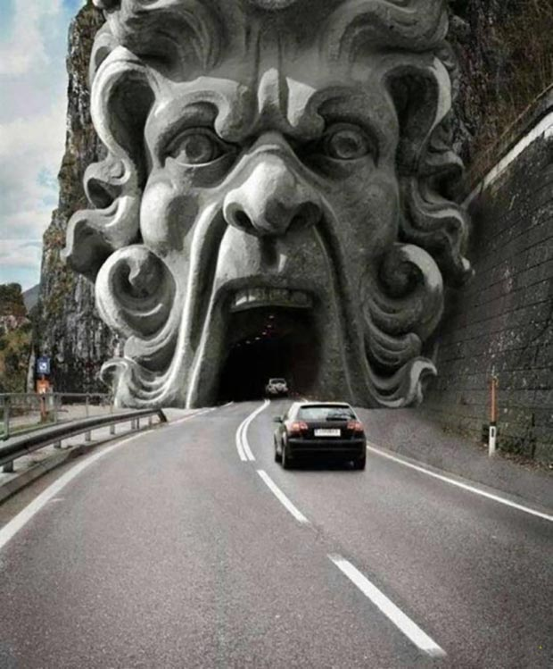 31 Funniest Memes and Pics Crazy Kooky and Comical ~ cool mountain roadway car tunnel mythical face mouth
