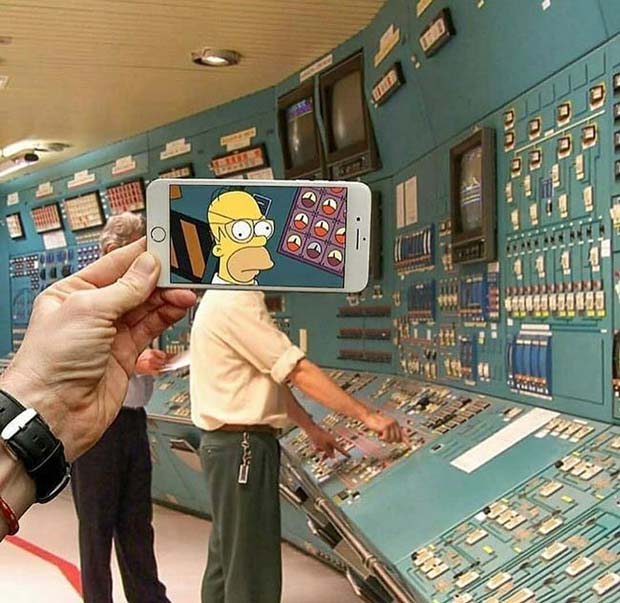 31 Funniest Memes and Pics Crazy Kooky and Comical ~ Homer Simpson face swap phone power plant