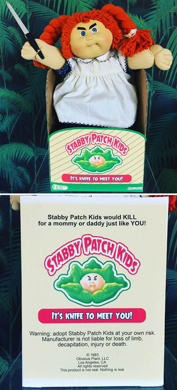 31 Hilarious Fake Toys Planted in Stores ~ stabby patch doll