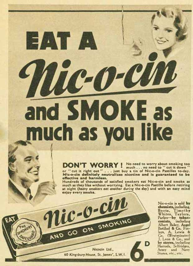 33 Funny Memes and Pics to Release Your Inner Humor ~ Vintage ads smoking cigarettes Nic-o-cin nicotine