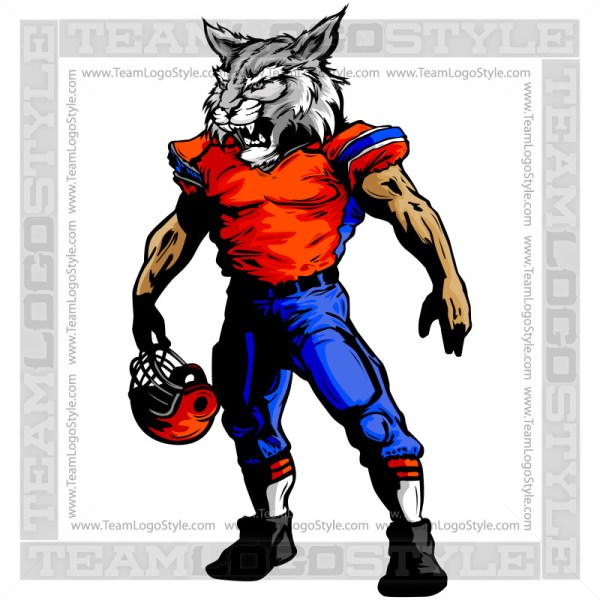 Football Wildcat Mascot Vector Clipart Wildcat