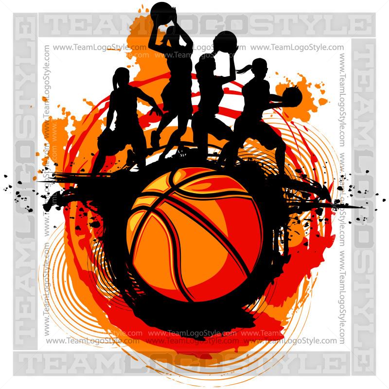 girls basketball clip art design vector clipart players rh teamlogostyle com Girls Basketball Team Clip Art Girls Playing Basketball