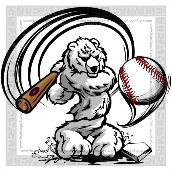 polar bear hitting baseball vector clipart polar bear. Black Bedroom Furniture Sets. Home Design Ideas