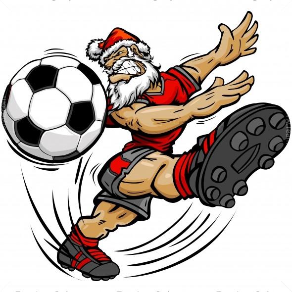 christmas soccer clip art vector clipart santa claus rh teamlogostyle com clip art soccer game clip art soccer ball