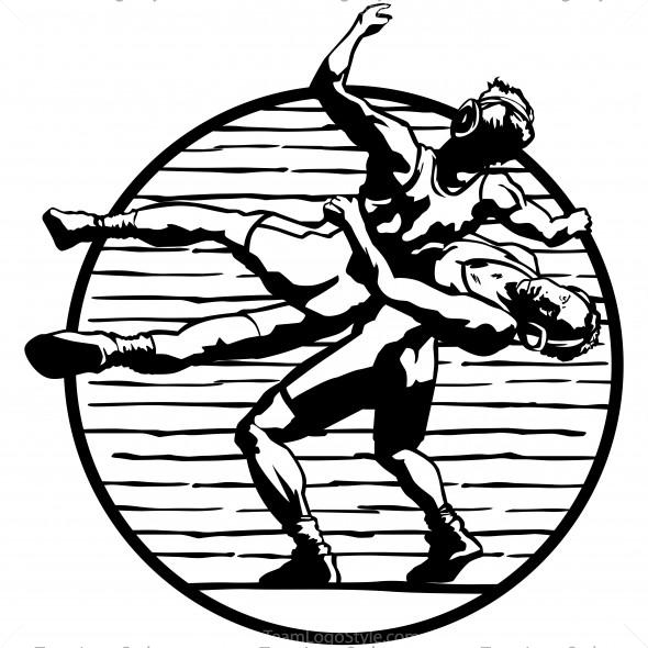 Vector Wrestling Clip Art