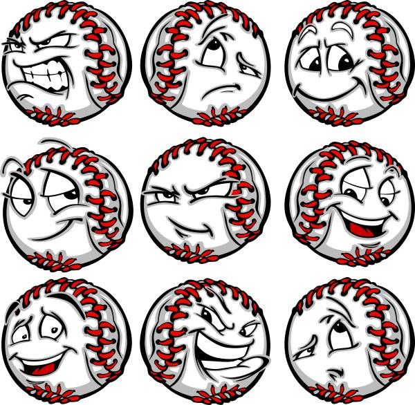 happy baseball vector clipart baseballs with crazy faces