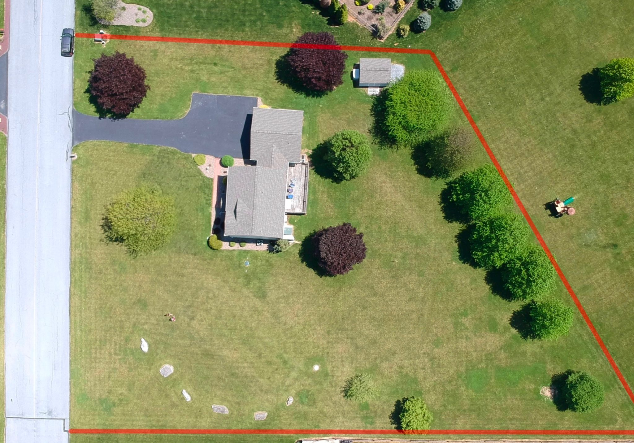 22 Norma Ln, Richland - Outside Overhead View With Parcel Lines