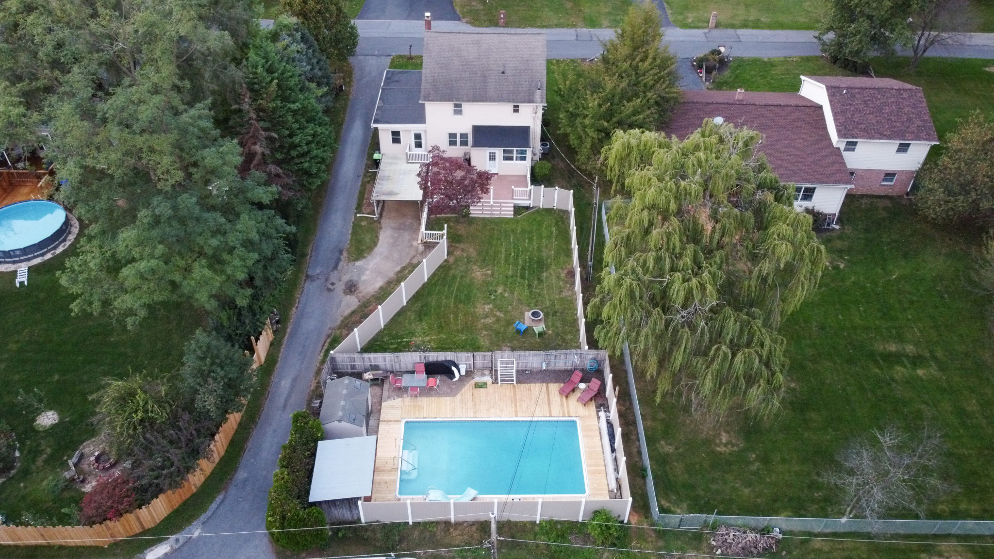 2022 Kline St - Overhead shot of charming single family home