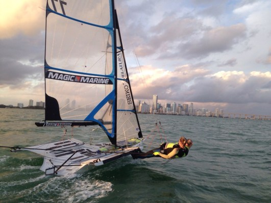 Jenny from the Block training in front of Miami's Skyline!