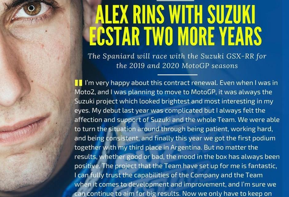 RINS correrÁ con el equipo Suzuki ECSTAR por dos años más