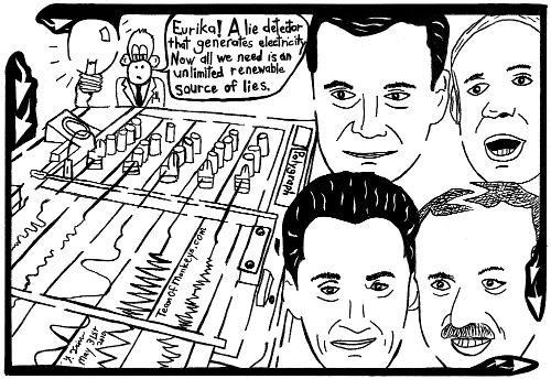 Maze cartoon of lie detector and erdogan, sarkozy, netanyahu and medvedev