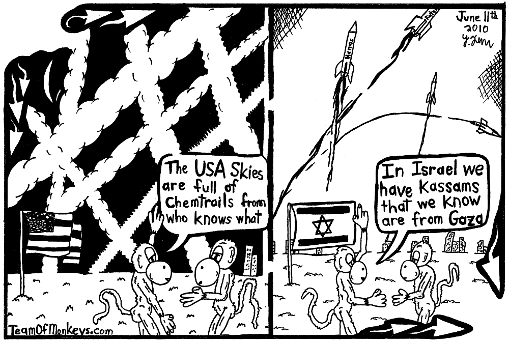 maze cartoon of chemtrails vs kassams Yonatan Frimer