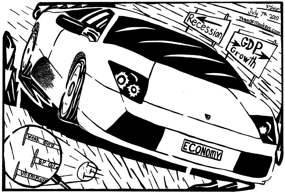 maze cartoon Lamborghini economy analogy