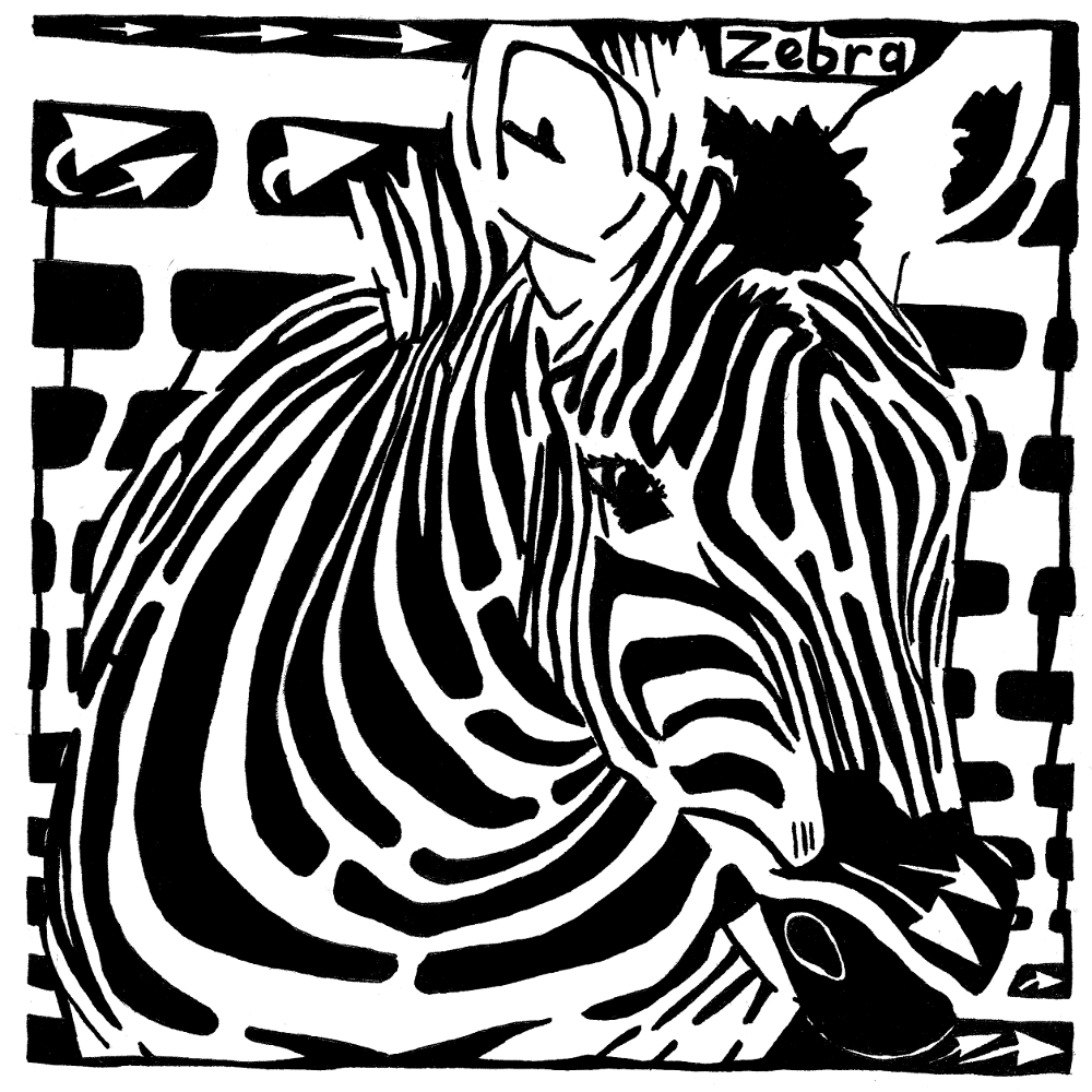Maze of a zebra for the letter Z by Yonatan Frimer