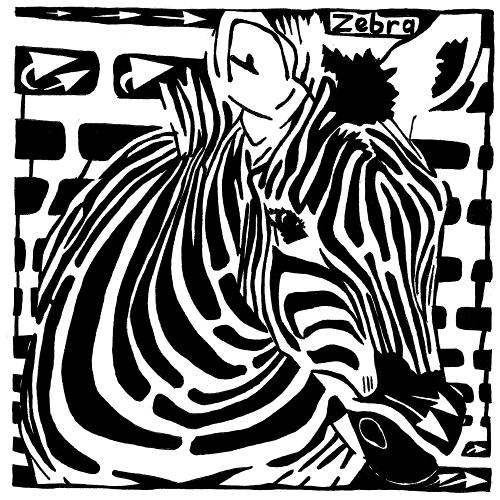 Maze of a zebra for the letter Z by Yonatan Frimer