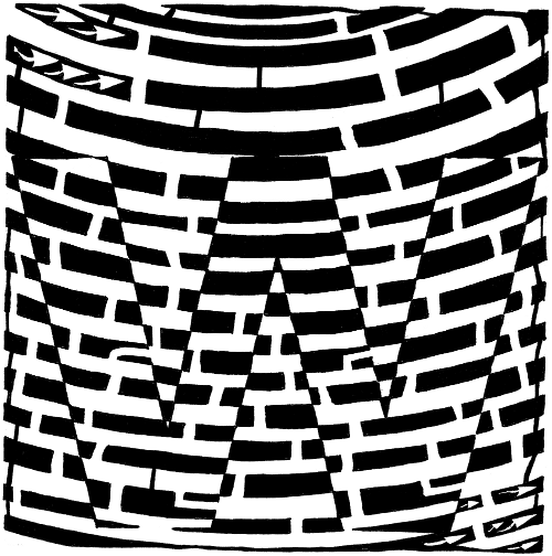 Maze art of the letter W, by Yonatan Frimer