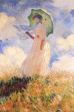 Claude Monet, Essai de figure en plein-air: femme a l'ombbrelle tournee version la gauche, 1886. You can smell the summer heat and and feel a warm breeze. This piece reminds me of home.