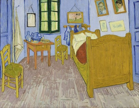 Vincent Van Gogh, La Chamber de Can Gogh a Arles, 1889. His bedroom, in the flesh! Actually there are three known versions of this painting.