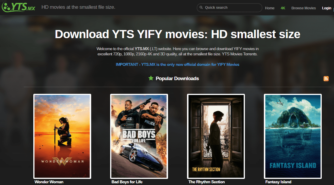 YTS Yiffy Best Torrent Site