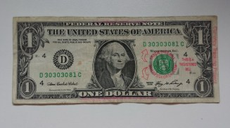 $1 Note mit rotem Stempel