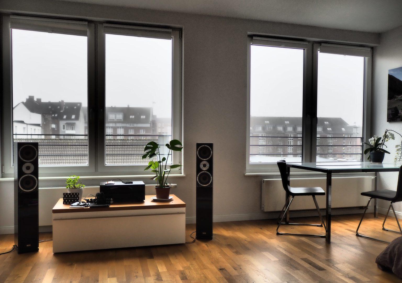 two black stereo speakers