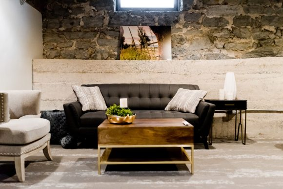 gray couch and brown wooden table
