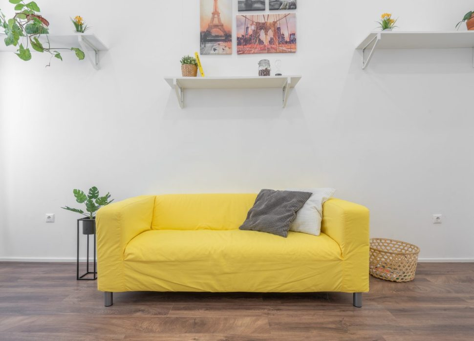 yellow fabric sofa