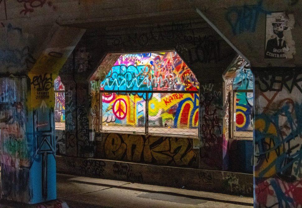 multicolored painted concrete building