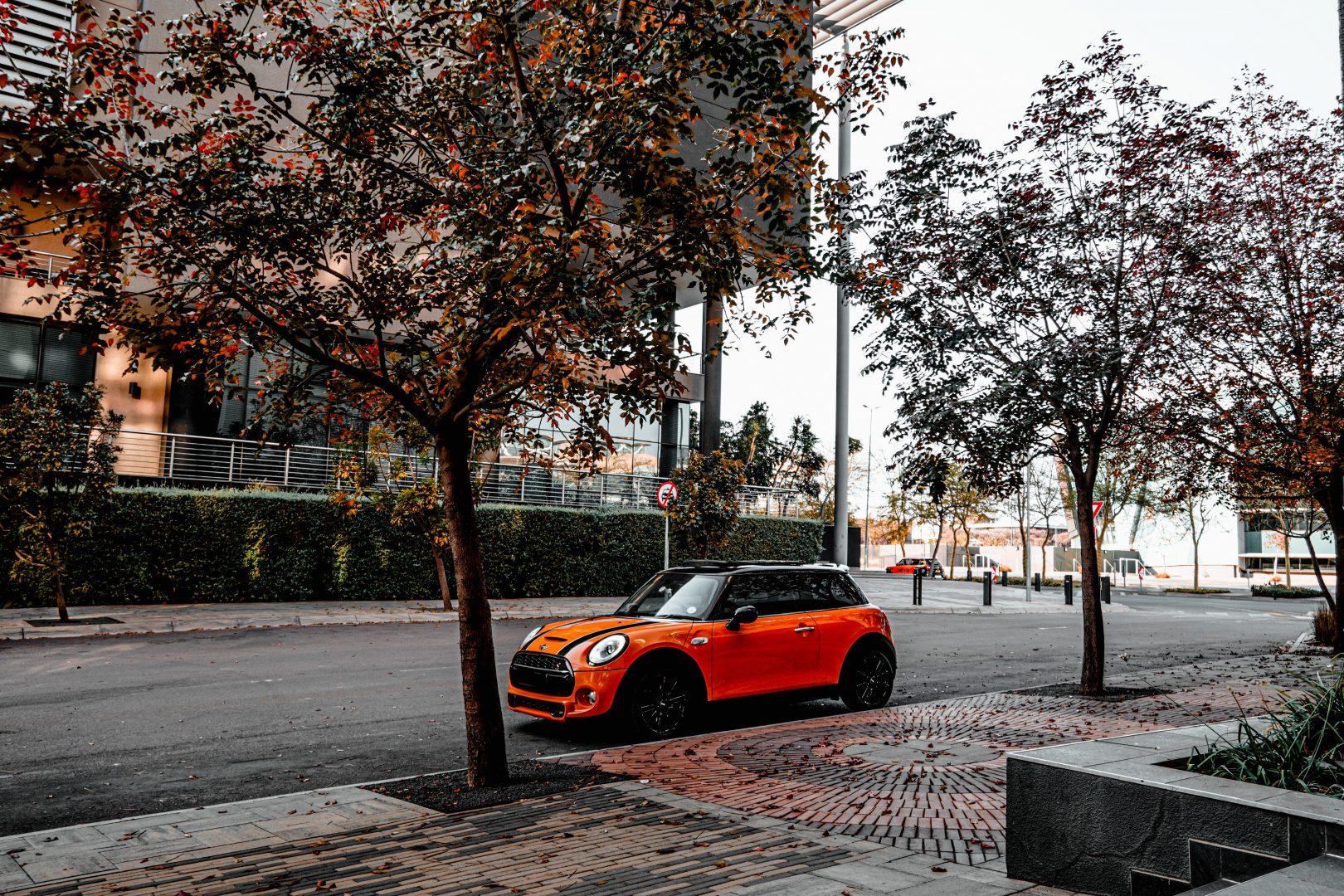 orange car parked near trees during daytime