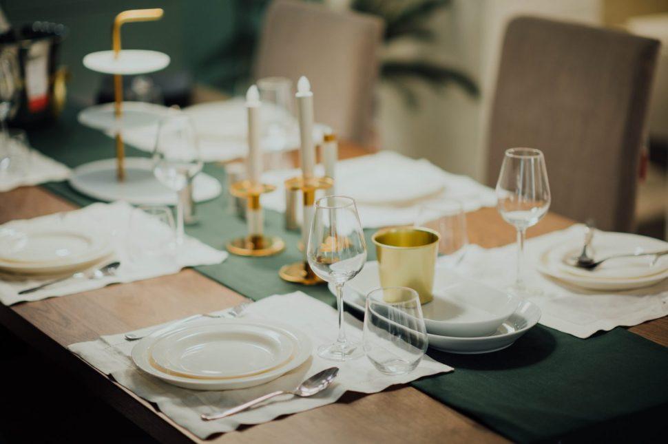 white ceramic dinnerware set on brown table
