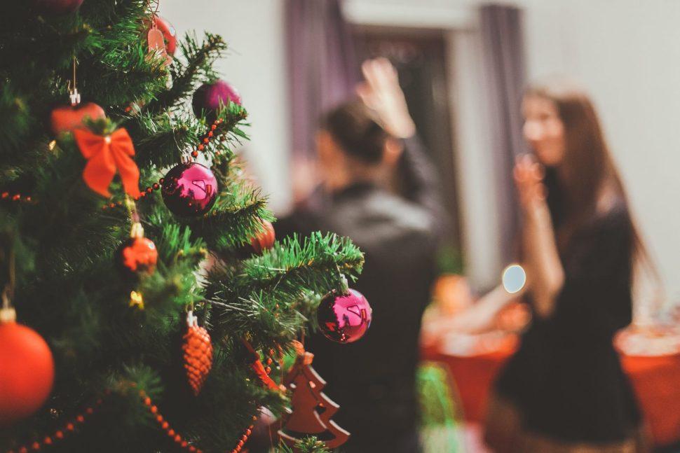 selective focus photography of Christmas tree
