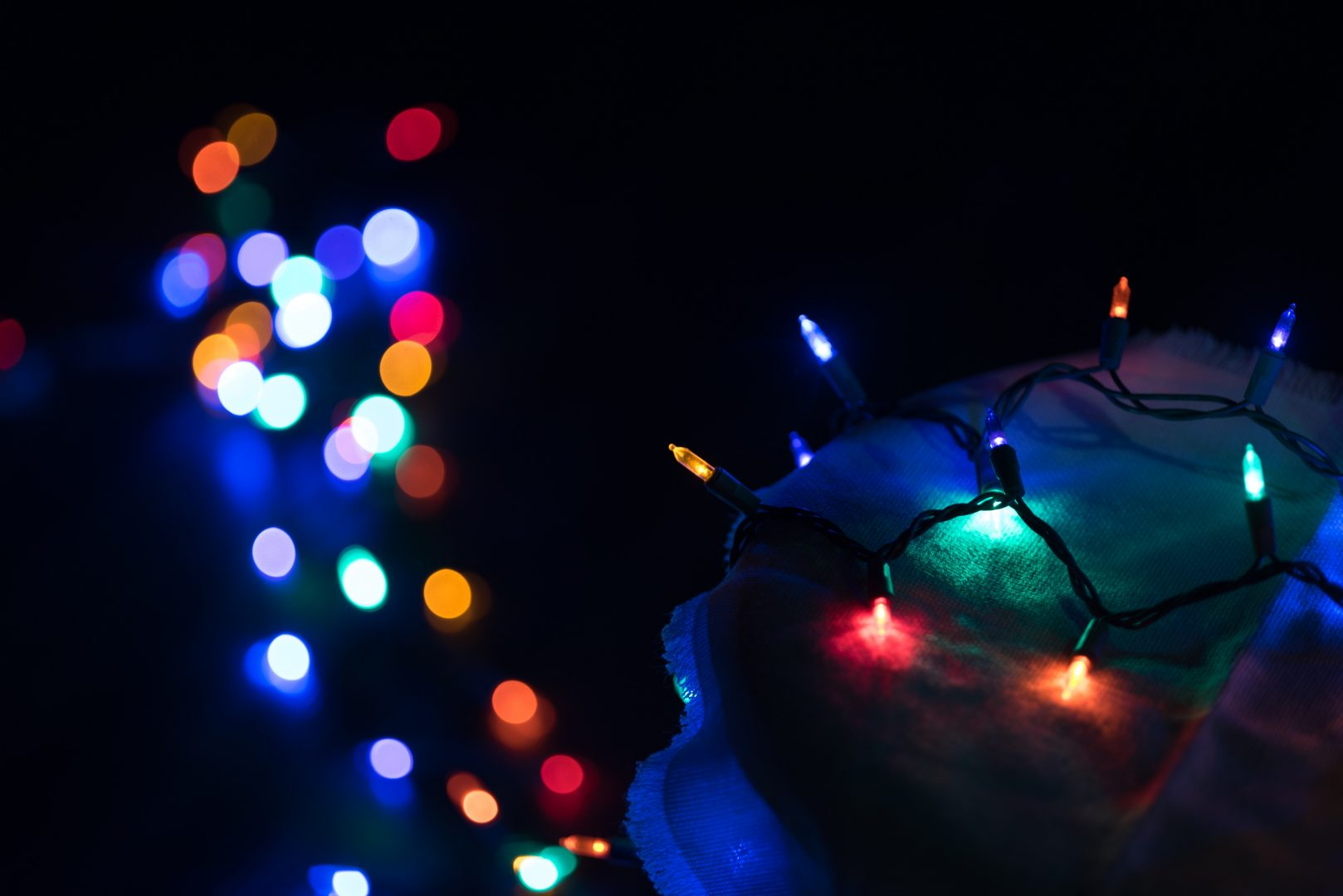 lighted assorted-color string lights