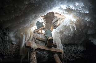 Our island freezer, an underground ice cave blasted into the permafrost by European whalers over 100 years ago.