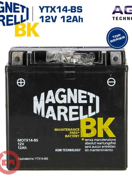 BATTERIA MAGNETI MARELLI YTX14-BS 12V 12Ah PIAGGIO Beverly IE E3 250 2008 2009