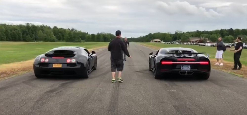 Chiron Battles Veyron in Bugatti Drag Race Duel - TeamSpeed