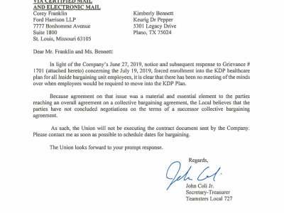 Local 727 Demands Keurig Dr Pepper Return to the Bargaining Table
