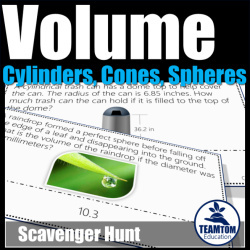 Volume, Cylinder Cones and Spheres Scavenger Hunt is so much fun!