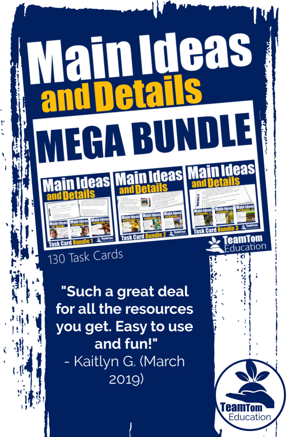 Fantastic resource! I was able to use for every level learner in my classroom. This resource was used in a variety of ways. I highly recommend. Main Ideas and Details Task Cards Mega Bundle from TeamTom Education.