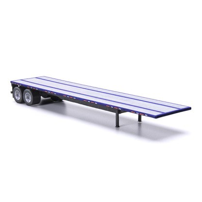 flatbed trailer paper model kit blue railroad