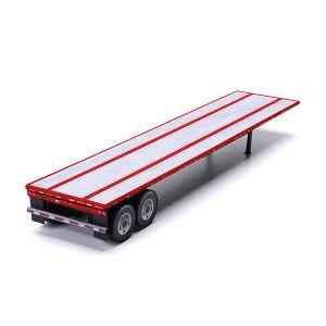 Flatbed Semi-Trailer Red Paper Model Kit